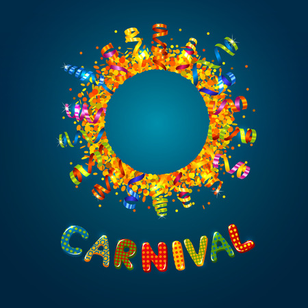 Carnival card with confetti and serpentine round frame Vector