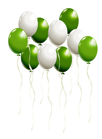 balloons party: Flying balloons in white and green