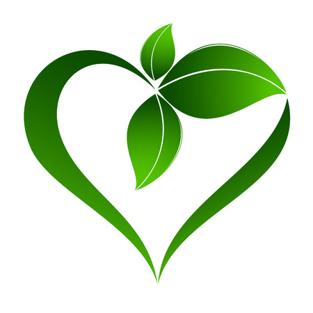 Abstract plant icon with heart element Stok Fotoğraf - 36635400