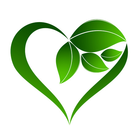 Abstract plant icon with heart element Stok Fotoğraf - 36635401