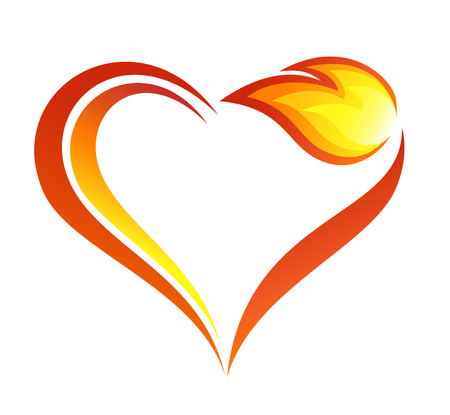 Abstract fire flames icon with heart element Vettoriali