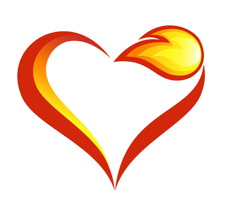 Abstract fire flames icon with heart element Stok Fotoğraf - 40190544