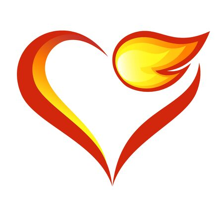 flames icon: Abstract fire flames icon with heart element Illustration