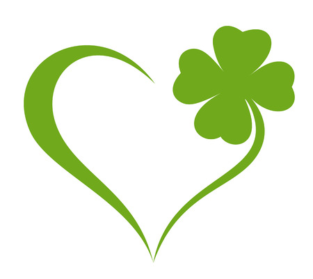 Heart icon with clover leaf icon Ilustracja