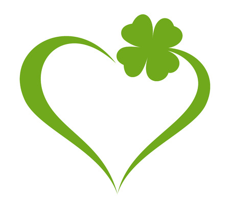 Heart icon with clover leaf icon Çizim