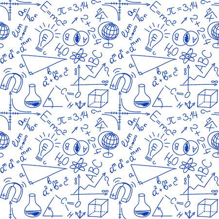 Mathematical and physical equations and formulas, seamless background Illusztráció