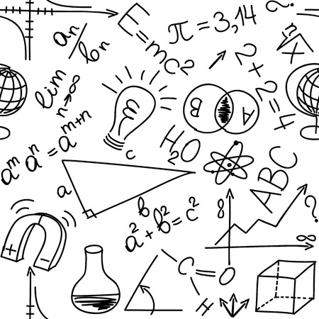 semester: Mathematical and physical equations and formulas, seamless background Illustration