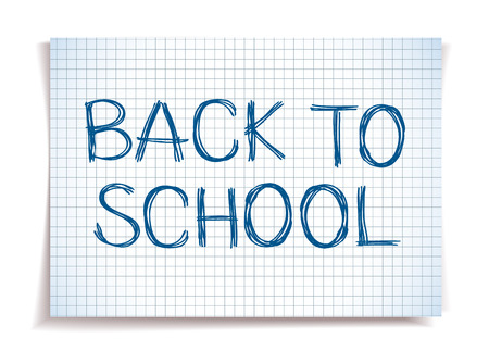 Hand drawn Back to School sketch on squared notebook paper Stok Fotoğraf - 41390057