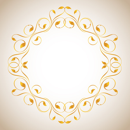 Vintage frame in gold. Symmetric inward Illustration
