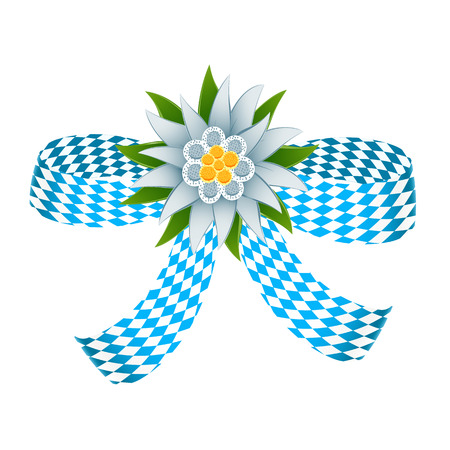 alpine: Ribbon in bavarian colors with edelweiss