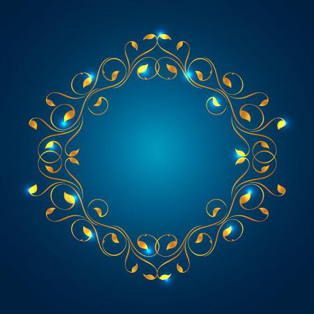 marcos decorativos: Marco de la vendimia en oro. Simétrica hacia adentro