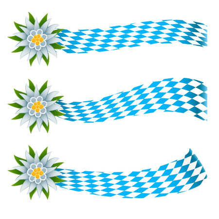 bavarian: Set of banners in bavarian colors and edelweiss Illustration