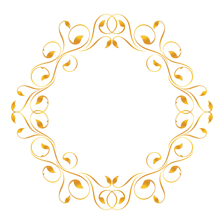 Vintage frame in gold. Symmetric inward Stok Fotoğraf - 41781112
