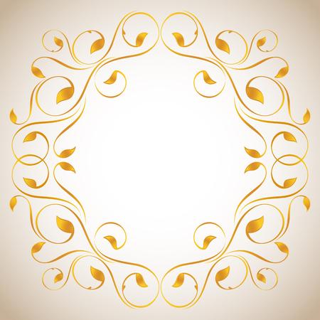 lustre: Vintage frame in gold. Symmetric inward Illustration