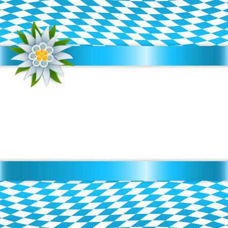 Banner en colores bávaras con edelweiss Ilustración de vector