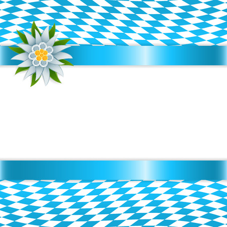 Banner in bavarian colors with edelweiss Vector Illustration