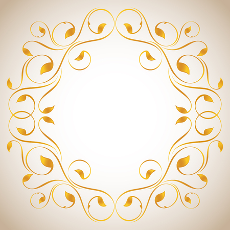 inward: Vintage frame in gold. Symmetric inward Illustration