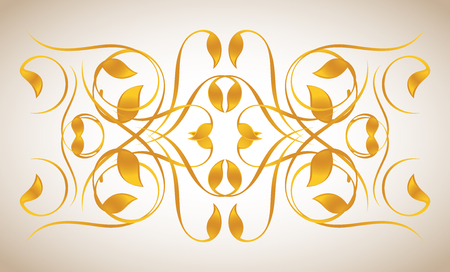 Vintage ornament in gold. Symmetric inward