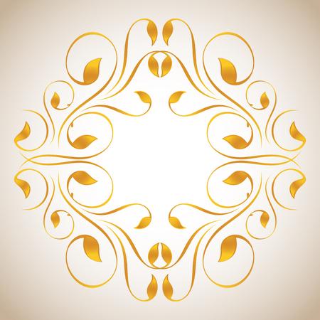 inward: Vintage ornament in gold. Symmetric inward