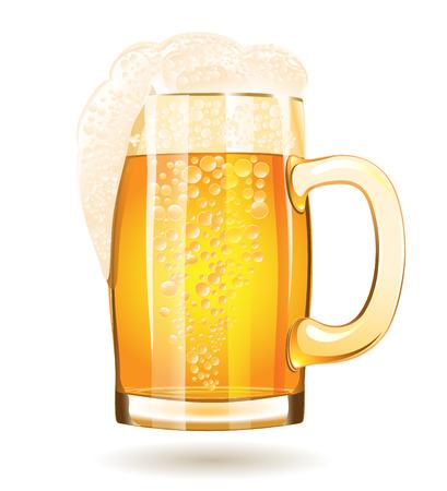 mug: Mug of beer isolated on a white background