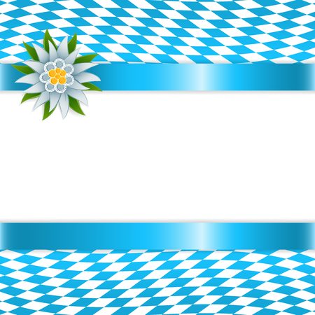 weisswurst: Banner in bavarian colors with edelweiss