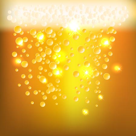 cerveza: Antecedentes como textur cerveza brillante con burbujas y espuma