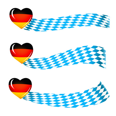 Oktoberfest celebration design, set of banners in bavarian colors with heart in german colors, white and blue Stok Fotoğraf - 45008578