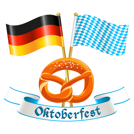 Oktoberfest celebration design with silk banner, german national flag, bavarian flag and traditional bavarian pretzel Illustration