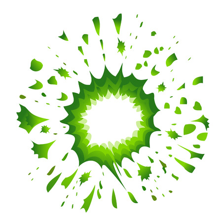 detonated: Green explosion in comic style