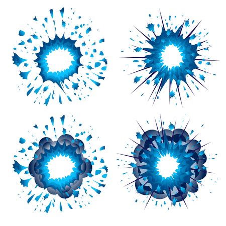 detonated: Blue explosion in comic style