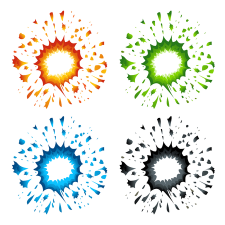 Set of colorful explosions in cartoon style Stok Fotoğraf - 57880639