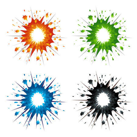 Set of colorful explosions in cartoon style