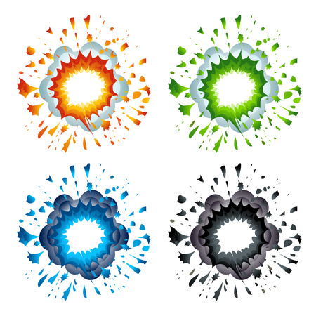 detonated: Set of colorful explosions in cartoon style