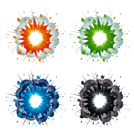colourful fire: Set of colorful explosions in cartoon style