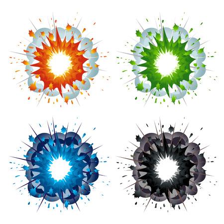 brandweer cartoon: Set van kleurrijke explosies in cartoon-stijl
