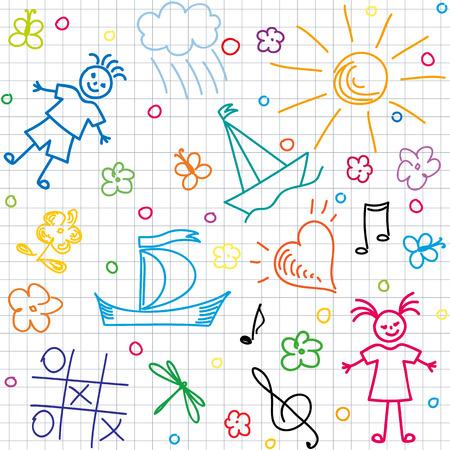 Hand drawn children motives on squared background, seamless background