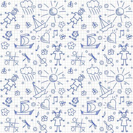 children background: Hand drawn children motives on squared background, seamless background