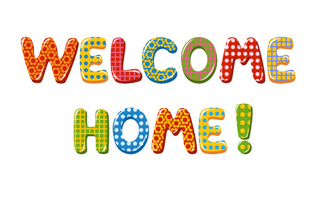 Welcome Home text with colorful design elements Иллюстрация