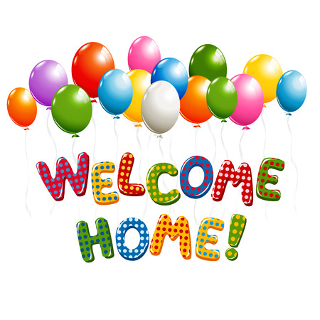 Welcome Home text in colorful polka dot design with balloons Vectores