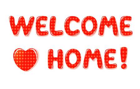 Welcome Home text with colorful polka dot design Stok Fotoğraf - 60238723