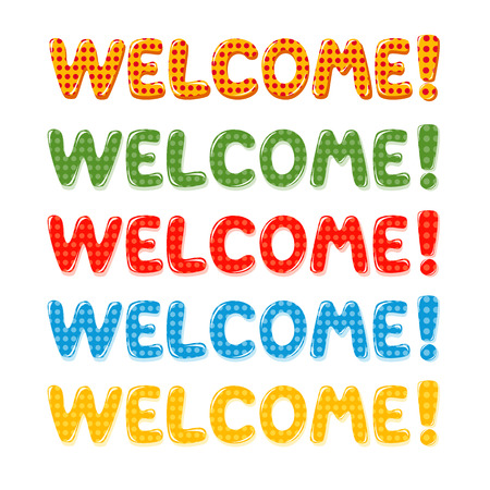 Welcome Home text with colorful polka dot design