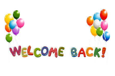 Welcome Back tekst kolorowe polka dot design z balonami