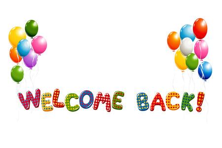 Welkom terug tekst in kleurrijke polka dot design met ballonnen