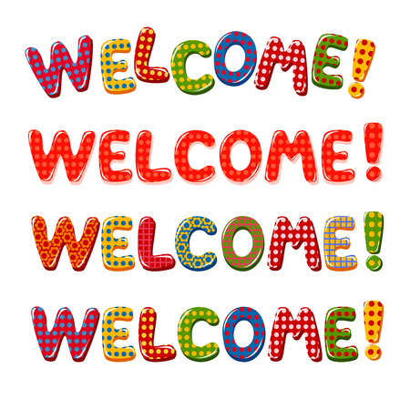 catchy: Welcome Home text with colorful design elements Illustration