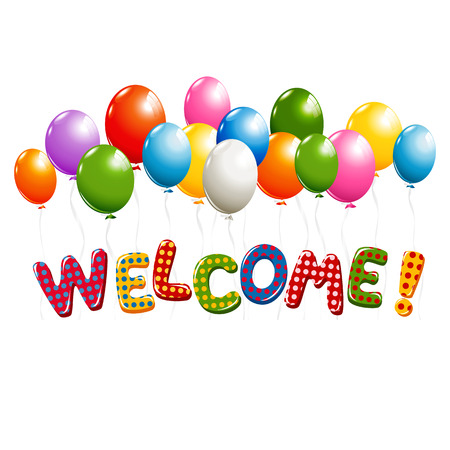 Welcome text in colorful polka dot design with balloons