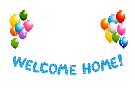 Welcome Home text in blue polka dot design with colorful balloons