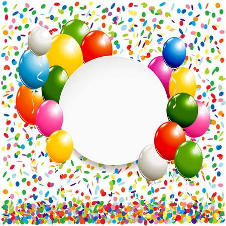 White round banner with colorful balloons and confetti Stok Fotoğraf - 60240687