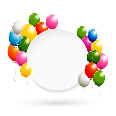 White round banner with colorful balloons