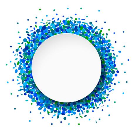 Blue confetti round frame