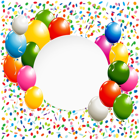 White round banner with colorful balloons and confetti